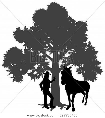 Young Woman Standing With Horse Under Oak Tree. Young Girl Is Leaning Against A Tree. Woman With Hat