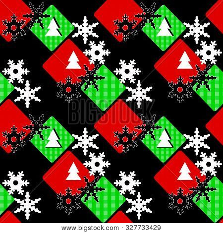 Seamless Bright Merry Christmas Patchwork Pattern Black Background