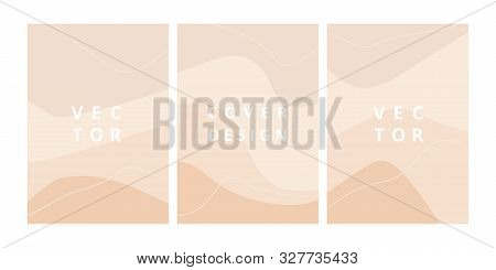 Simple Set Of Abstract Backgrounds With Wave Shapes In Pastel Colors. Modern Design Template With Sp