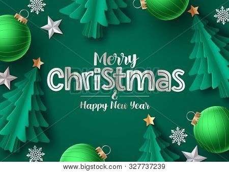 Christmas Tree Vector Greeting Card. Merry Christmas Greeting Text With Green Pine Tree, Snowflakes,