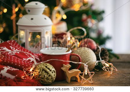 Christmas Theme With Red Cup Chocolate,red Scarf,white Lantern,star Blinker, Balls And Bauble Reinde