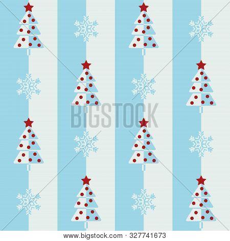 Christmas Tree And Snowflake. Seamless Vector Illustration With Abstract Christmas Trees And Snowfla