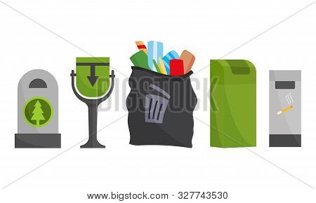 Recycling And Garbage Cans Collection. City Trashcan Set With Wheeled Dumpster Or Trash Container, R