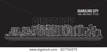 Cityscape Building Panorama Line Art Vector Illustration Design - Guarulhos City