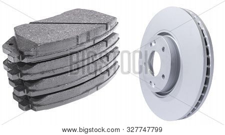 Car Brake Discs And Brake Pads Isolated On White Background. Auto Parts. Brake Disc Rotor Isolated O