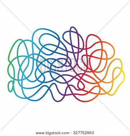 Hand Drawn Tangle Scrawl Sketch, Multycolor Gradient Line Abstract Scribble Shape. Chaotic Doodle Dr
