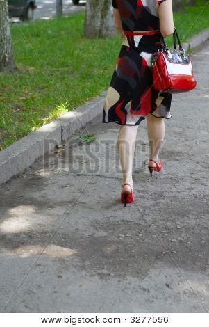 Womanish Feet, Red Shoes And Bag