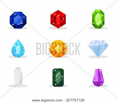 Precious Gemstones Vector Illustration Pack. Luxurious Gems, Glamor Jewelry, Shiny Treasure. Decorat
