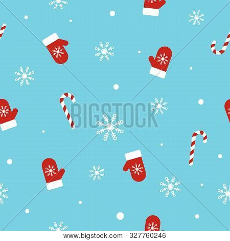 Christmas Seamless Pattern With Mittens, Candy Canes, Snowflakes And Snowballs On Blue Background. U