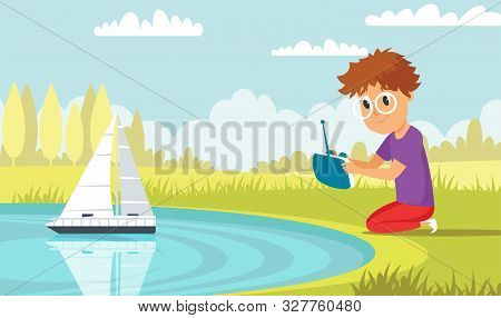 Boy Playing With Rc Ship Flat Vector Illustration. Little Kid With High Tech Toy In Park Cartoon Cha