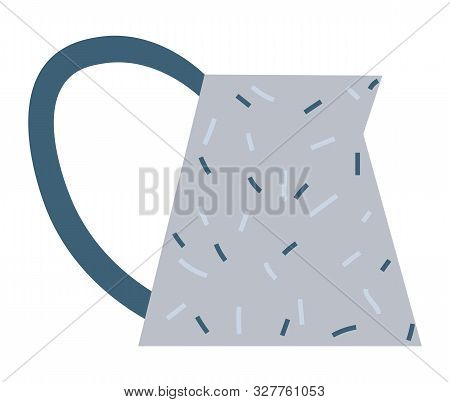 Watering Pot With Handle Or Dotted Ceramic Jug In Blue Color. Flat Design Style Of Crockery, Dishwar