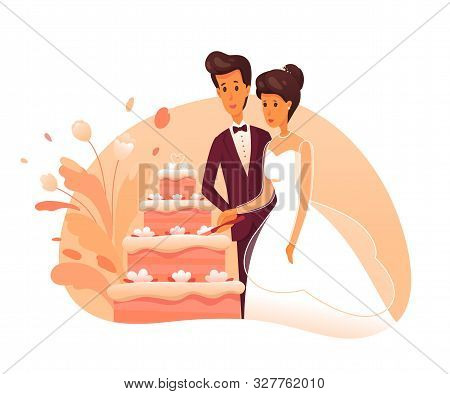 Bride And Groom Cut Cake Flat Vector Illustration. Newly Married Couple Cartoon Characters. Wedding