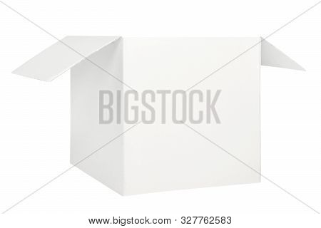 White Open Lid Box Isolated On White Background