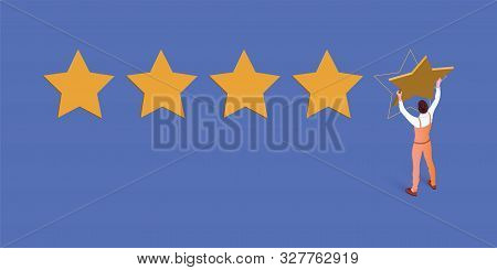 Five Star Rating Isometric Blue Vector Illustration. Workman Cartoon Character. Customer Feedback, R