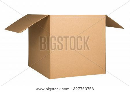 Cardboard Box With Opened Cover Isolated On White