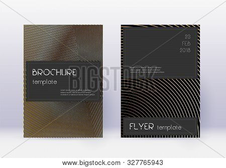Black cover design template set. Gold abstract lines on black background. Alive cover design. Wonderful catalog, poster, book template etc. poster