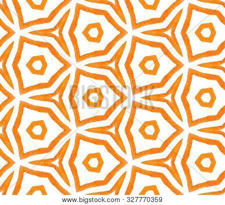 Orange Kaleidoscope Seamless Pattern. Hand Drawn Watercolor Ornament. Posh Repeating Tile. Rare Fabr