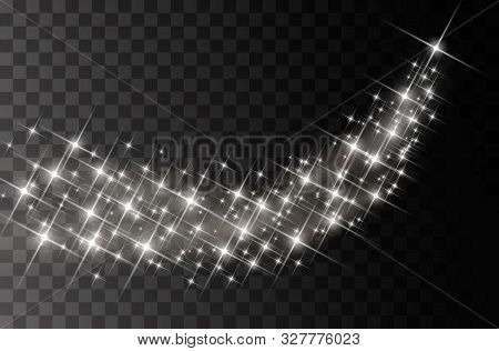 Glitter Particles Effect. Gold Glittering Space Star Dust Trail Sparkling Particles On Transparent B