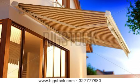 Canvas Awning In The Morning, 3d Illustration