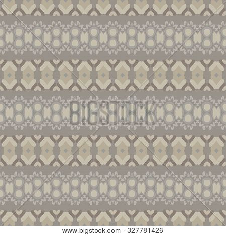 Hand Drawn Ethnic Horizontal Stripe Seamless Pattern. Modern Lines Hand Drawn In Brown, Gray, Ecru N