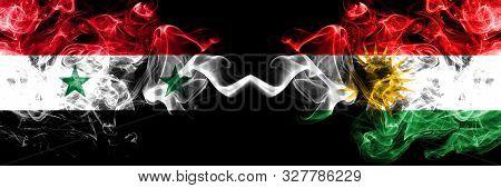 Syria Vs Kurdistan, Kurdish Smoke Flags Placed Side By Side. Thick Colored Silky Smoke Flags Of Syri