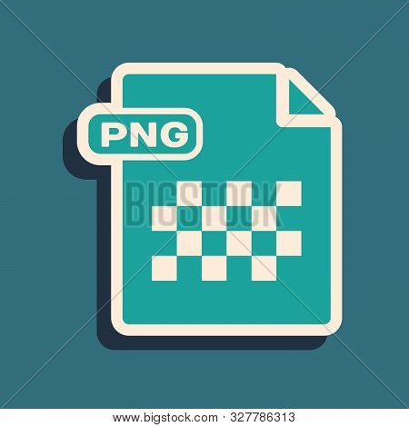 Green Png File Document. Download Png Button Icon Isolated On Blue Background. Png File Symbol. Long