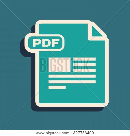 Green Pdf File Document. Download Pdf Button Icon Isolated On Blue Background. Pdf File Symbol. Long