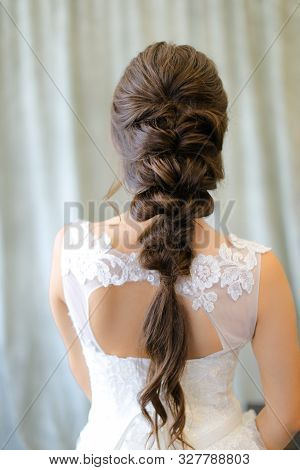 Back View Of Brunette Fiancee With Braid Hair At Photo Studio.