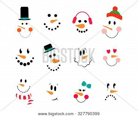 Snowman Emoticons. Vector Collection Of Cute Snowman Faces. Vector Snowman Set. Funny Cartoon Faces