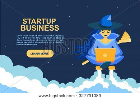 Startup Business. Seasonal Autumn Halloween Landing For Sites. The Witch Prints And Programs On Lapt