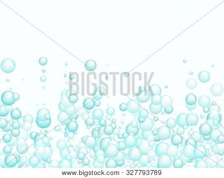 Blue Soap Foam Bubbles Vector Concept, Abstract Shampoo Soapy Effect Background. Water And Detergent