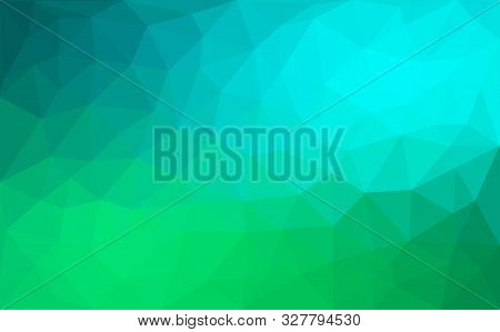 Modern Blue And Green Abstract Polygonal Mosaic Background. Geometric Texture Background In Origami