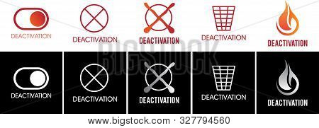 Vector Set Of Logos, Sign Of Deactivation