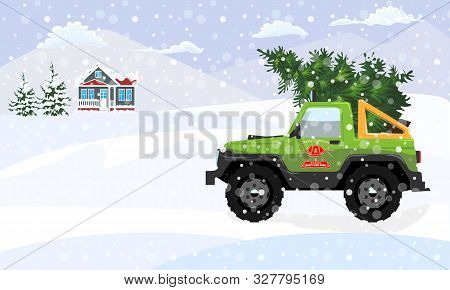 Fir Tree Delivery With Offroad And Winter Landscape. Flat And Solid Color Christmas Tree. Vector Ill