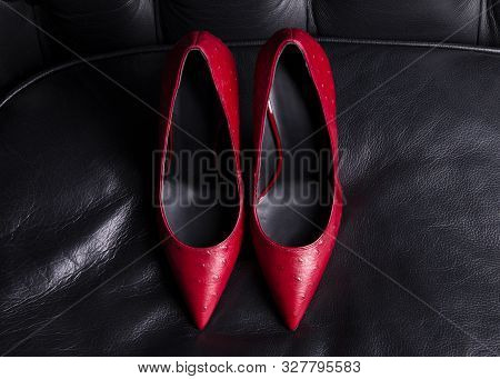 poster of Women shoes. A pair of red shoes top view. Pointed-toe high-heeled shoes. A pair of beautiful shoes in the interior on a black leather sofa.