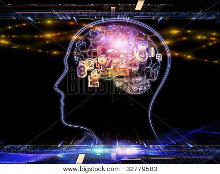 Backdrop composed of head outlines lights and abstract design elements and suitable for use on intelligence consciousness logical thinking mental processes and brain power poster