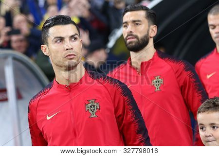 Kyiv, Ukraine - October 14, 2019: Cristiano Ronaldo And Other Portugal Players Go To The Pitch Befor