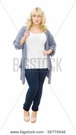 Casual Chic - Beautiful Woman Looking Sideways