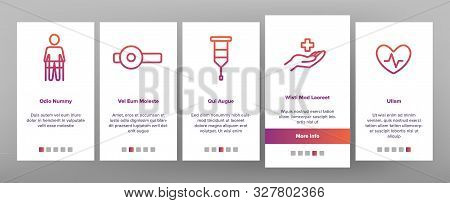 Therapeutic Onboarding Mobile App Page Screen Vector Thin Line. Sanitary Case And Nurse, Doctor And