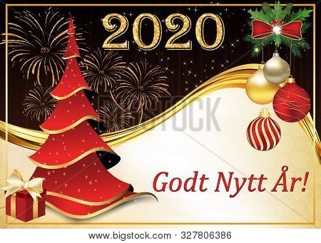 Greeting Card For The New Year 2020 Celebration. The Text Is Written In Norwegian.