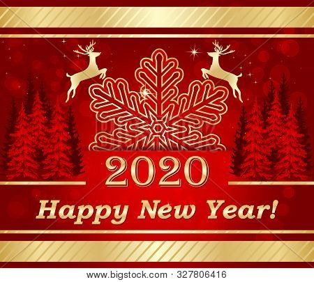 Happy New Year 2020 - Red And Golden Greeting Card For The New Year Celebration.