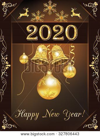 Happy New Year 2020! - Greeting Card With Classic Design, Golden Baubles And Jingle Bells On A Brown