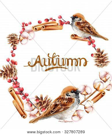 Autumn Wreath With Pinecone, Cinnamon And Bird