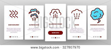 Smell Cloud Onboarding Mobile App Page Screen Vector Thin Line. Smell Of Cooking Food Vapour Smoke,