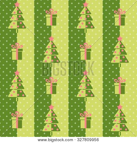 Christmas Tree And Presents, Seamless Vector Illustration With Abstract Trees And Gift Boxes