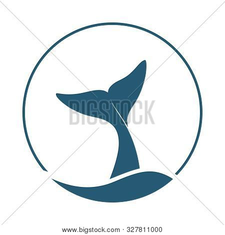 Whale Tail Graphic Icon. Whale Tail Sign In The Circle Isolated On White Background. Sea Life Symbol