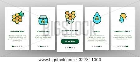 Honeycomb Onboarding Mobile App Page Screen Vector Thin Line. Bee Swarm, Beekeeper And Sweets, Necta