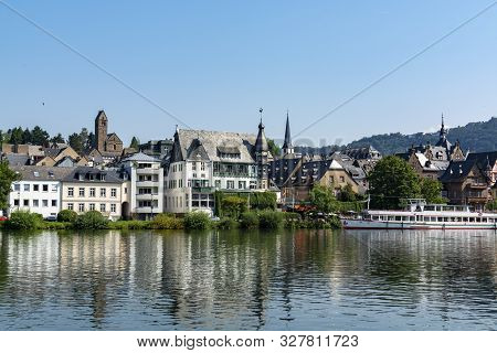 View On Small German Town Located In Mosel River Valley, Quality Wine Regio In Germany