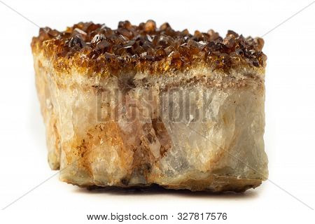 Block Of Natural Citrine Quartz Mineral From Brazil Isolated On A Pure White Background