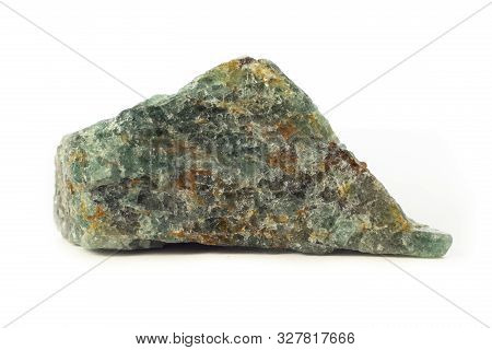 Rock Of Epidote Mineral From Madagascar Isolated On A Pure White Background